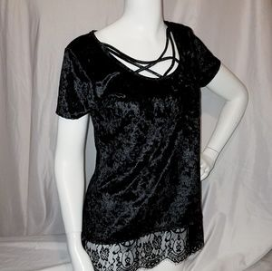 Black Velvet Top Lace & Strappy Details Maurices M